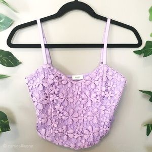 ✨ Tobi | Lavender Purple Crochet Lace Top Bustier